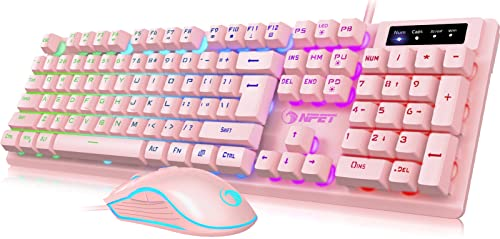 NPET S20 Wired Gaming Keyboard Mouse Combo, LED Backlit Quiet Ergonomic Mechanical Feeling Keyboard, Backlit Gaming Mouse 6400 DPI, for Desktop, Computer, PC, Pink