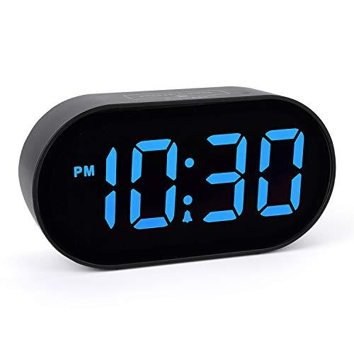 [Updated Version] Plumeet Digital LED Alarm Clock with Adjustable Brightness Dimmer and Alarm Volume, Large Blue Digit Display,12-24 Hours, Snooze, Bedroom Clocks with USB Port Phone Charger (Blue)