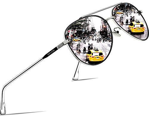SIPLION Unisex Polarisiert Sonnenbrille Herren Damen Pilotenbrille Fahrerbrille Verspiegelt UV400 7077 Silver