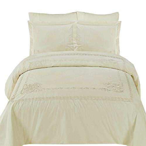 sheetsnthings Embroidered Athena 210-Thread-Count, 100-Percent Cotton Full-Queen 3PC Duvet Cover Set, Ivory