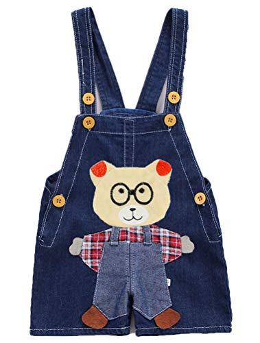 ARAUS Baby Latzhose Jeans Kinder Kurz Denim Hosenträger Knöpfe Süß Frühling Sommer Kleinkindhose