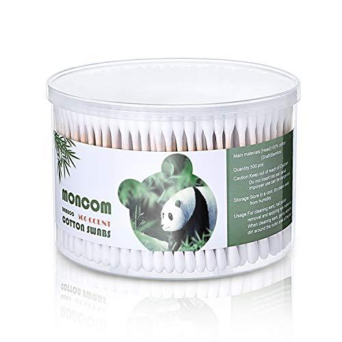 Moncom Lot de 500 cotons-tiges ronds doubles en coton avec bâtonnets en bois solides 7,6 cm, 1 boîte