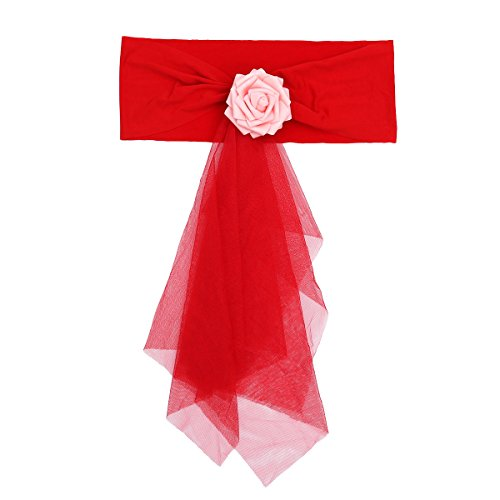 Amosfun Chair Organza Bowknot for Wedding Party Birthday Banquet Events Supplies Chair Cover Sash Decoration (Red)