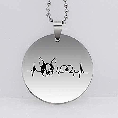 ZHIFUBA Co.,Ltd Collar de Acero Inoxidable con Personalidad de Latido del corazón, Colgante con Estampado de Pata, Bonito Regalo de joyería con Pata de Perro