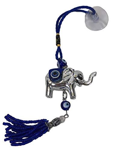 BGG Blue Evil Eye Lucky Elephant Amulet Charm Car Ornament Hanger Tassel