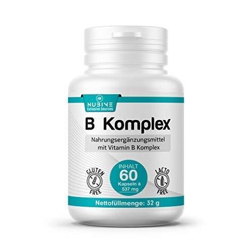 Nubive - B Komplex - Kein Magnesiumstearat - mit Vitamin B Komplex - 60 Kapseln je 537mg - 60 Tage Packung - 100ml - Nettofüllmenge 32g