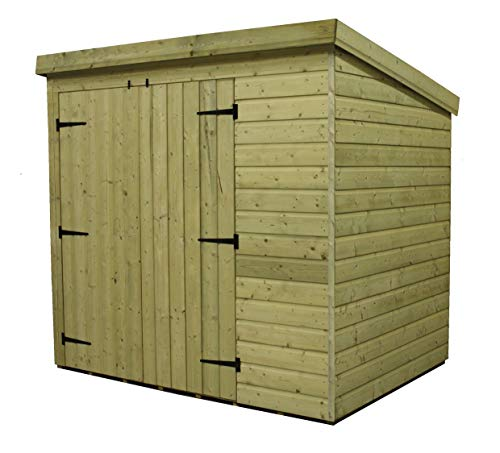 EMS Retail PENT GARDEN SHED 7X3 SHIPLAP PRESSURE TREATED TANALISED DOUBLE DOOR LEFT