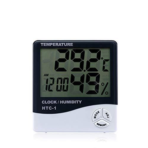 Tutyuity Digitales LCD-Thermometer Hygrometer Temperaturmessgerät Luftfeuchtigkeitsmesser Uhr