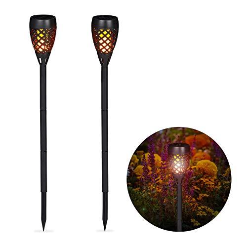 Relaxdays, schwarz Gartenfackel Solar im 2er Set, Außenbeleuchtung für Garten, tanzende Flamme, mit Erdspießen, H: 78 cm, Pack