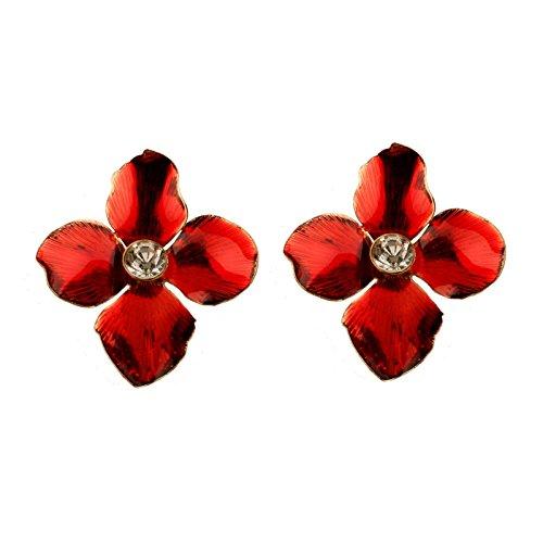 Aeici Rojo Pendientes de Moda Mujer Diseño Unico Flor Circón 40X38Mm