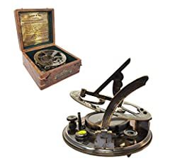 The Sundial is made of Premium Grade Brass and the Sun Dial comes with a gift box, made of rosewood; box beautiful by itself. Size:- 15cm - L x 15cm - W x 7cm - H (Wooden Box); Size:- 12.5cm - Dia x 5cm - High (Sundial Compass) Beautifully crafted so...