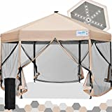 Quictent 13' X 13' Hexagonal Gazebo with Solar Powered LED Lights Pop up Canopy Tent with Mosquito Net ,Easy up Screened Canopy Gazebo, Beige