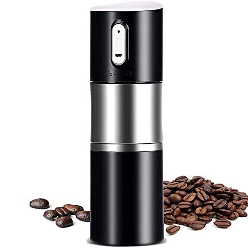 WGHH Máquina de Espresso automático de Molinillo de café portátil, Recargable USB, Espesor de partículas abrasivo Ajustable, Vaso de café, Negro
