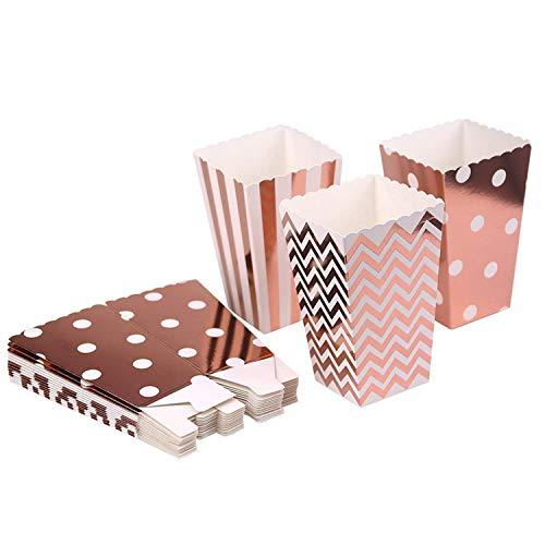 Czemo Caja de Palomitas Carton Caramelo Contenedor Pop Corn Box Palomitas Bolsa para Fiestas, 36pcs (Oro Rosa)