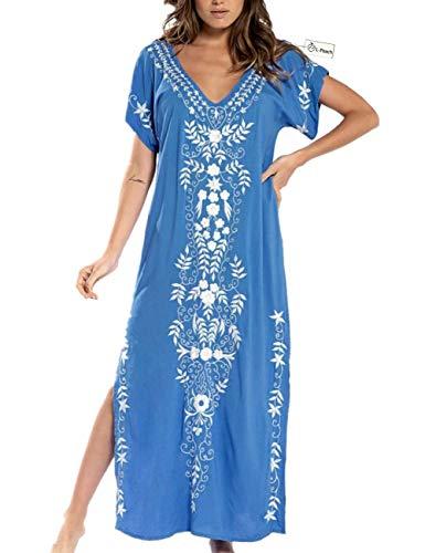 L-Peach Vestido Largo con Floral Bordado Mujer, Azul Bordado, Talla única