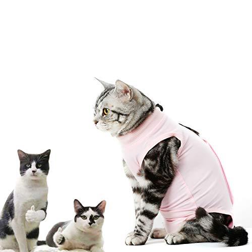 CandyCare Mascotas Traje de recuperación quirúrgica para Gatos, Destete Ropa Chaleco pequeño Mediano Grande Gatos, Anti lamida con Sonaja y DIY Anti-Lost Número Celular Rosa M