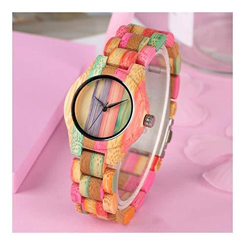 Leyue Reloj de Madera, Personalidad de Moda Color Fresco Color Creativo Cuarzo Reloj de bambú Ocio Deportes románticos, saludables, respetuosas con el Medio Ambiente Mujeres Mujeres A + (Color