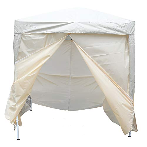 2x2m Gazebo Pavilion Tent, with Carrying Bag, 4 Sidewalls, 2 Full Size Window, Steel Framework for Camping Equipment Beige