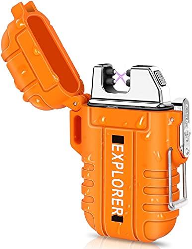 EzLife Waterproof Flameless Electric Lighter-Dual Arc Plasma Beam Lighter-USB Rechargeable-Windproof-No Butane-Ideal Lighter for Indoor and Outdoor Activities (Orange)