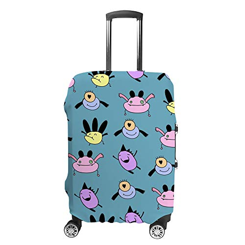 CHEHONG Suitcase Cover Luggage Cover Cute Funny Monsters Blue Travel Trolley Case Protective Washable Polyester Fiber Elastic Dustproof Fits 22-24 Inch