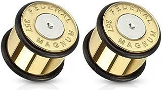 Pair of Bullet 357 Magnum Gold Tone Large .357 Bullet Shell Ear Plugs O-rings
