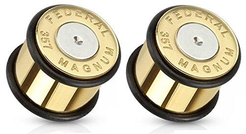 Pair of Bullet 357 Magnum Gold Tone Large .357 Bullet Shell Ear Plugs O-rings (0GA (8mm))