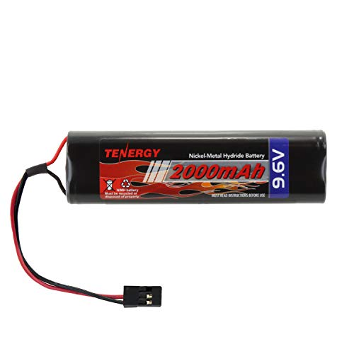 Tenergy NiMH Receiver Battery Pack with Hitec Connectors 9.6V 2000mAh High Capacity Futaba Battery Pack, Square NT8S600B Rechargeable Battery Pack for RC Receivers, Airplanes, and More