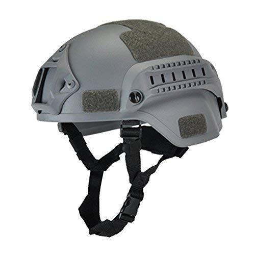 koiry Militare Tattico Casco Airsoft Cambio Paintball Testa Protezione con Visione Notturna Sport Supporto Telecamera - Grigio