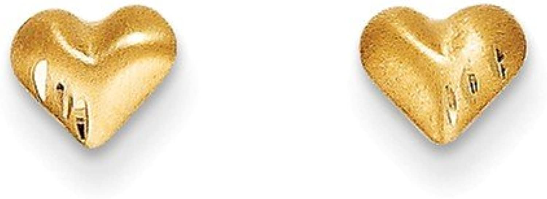Yellowgold 14k Madi K DiamondCut & Satin Puffed Heart Earrings