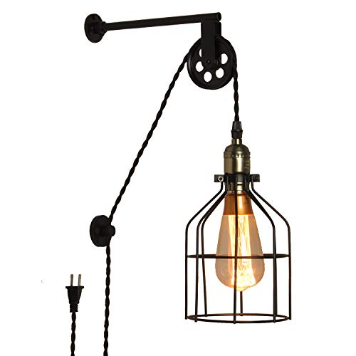 Modern Industrial Rustic Cage Wall Lamp Lift Pipe Pulley...