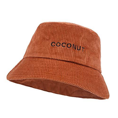 HT LT Caída de Invierno Corduroy Bucket Sombrero Retro Olla Sombrero para Mujeres con Sombrero de Bordado de Moda,Naranja