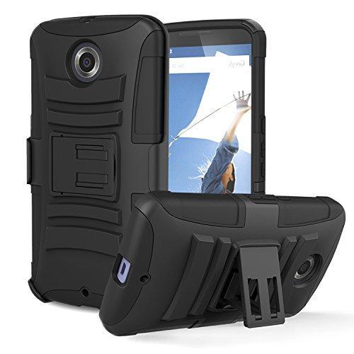 Nexus 6 Case - MoKo Shock Absorption Scratchproof Full Body Rugged Cover Holster Belt Clip Kickstand Protective Case for Google Nexus 6 (2014), Black