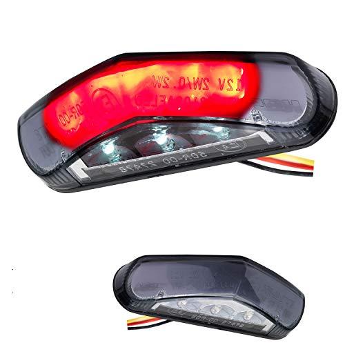 LED Mini Motorrad Rücklicht Bremslicht mit Kennzeichenleuchte Triangle schwarz stealth