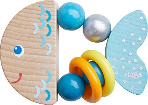 HABA 305582 - Greifling Klapperfisch, Babyspielzeug aus Holz für Kinder ab 6 Monaten in Fischform zur...