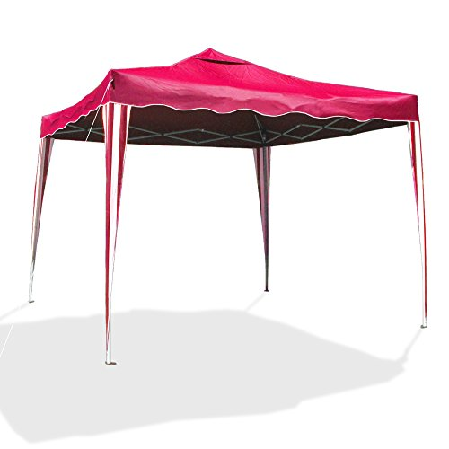 JOM Pop Up Gazebo, Garden pavilion Sylt I, pop-up pavilion, 3 x 3 m, red/white, Oxford 200D fabric, bag inclusive