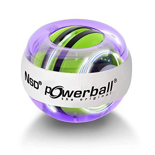 Powerball Autostart Multilight, gyroskopischer Handtrainer mit blau-rotem Lichteffekt inkl. Aufziehmechanik, transparent-violett, das Original von Kernpower