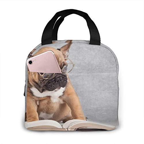 N\A Gafas aisladas portátiles Libros de Lectura Bitbull Lunch Tote Bolsas de Almuerzo de Picnic Reutilizables Cajas para Hombres Mujeres y Bolsillos Delanteros