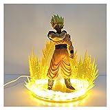 MOLUO Lámpara luz Nocturna niños Dragon Ball Goku Figurine Super Saiyan Despertando Son Goku PVC Ani...