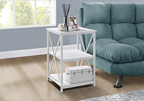 Monarch Specialties Rectangular End Accent Nightstand X-Cross Storage Shelves Side Table, 26