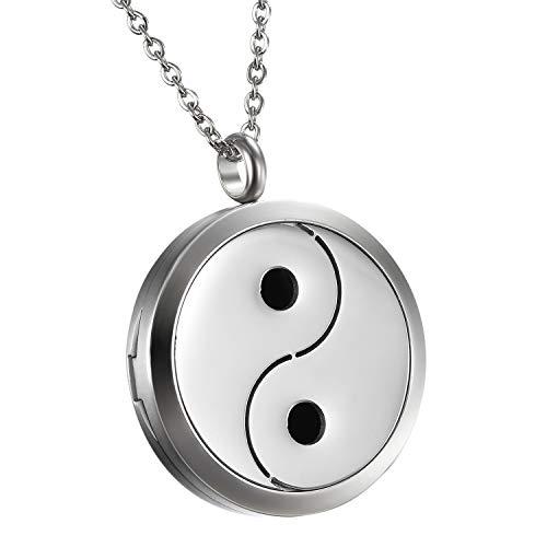 Da uomo donna Hollow Yin Yang fascino diffusore di oli essenziali aromaterapia medaglione ciondolo con 6pastiglie di colore