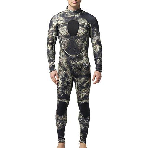 [ Herren Neoprenanzug mit Rückenreißverschluss ] Herren Schutz Anzug Wetsuit Neoprenanzug Tauchanzug Wassersport lang tarnung Grau -iisport