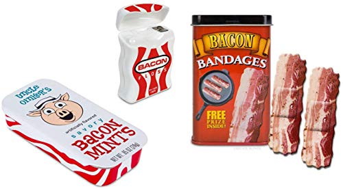 Bacon Gag Gift Trio - Bacon Mints, Floss, and Adhesive Bandages - Perfect for The Bacon Lover in Your Life!