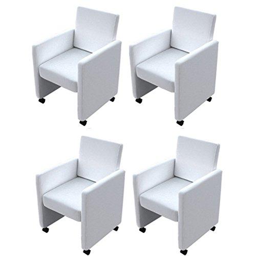 Anself Esszimmerstuhl Küchenstühle Set Stuhlgruppe Esszimmersessel aus Kunstleder auf Rädern