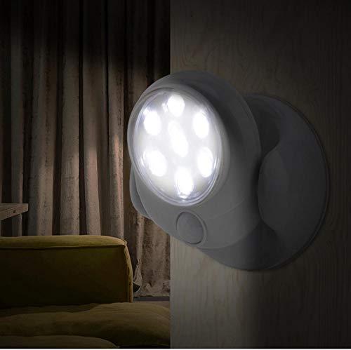 Yhhzw Sensor De Movimiento Giratorio De 360 Grados Led Luz De Noche Dormitorio Cocina Lámpara De Noche Lámpara De Pared De Pasillo Inalámbrico Sensor Luz De Escalera