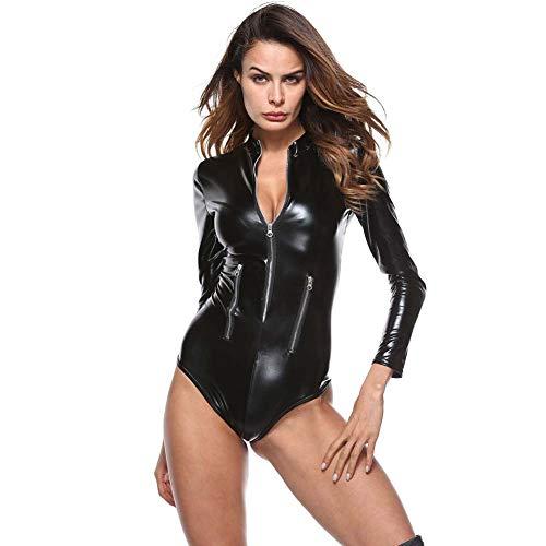 XXZ Damen Sexy Catsuit Ouvert Reizvoller Jumpsuit Coaplay Cat Woman Kostüm Lackleder Erotik Bodys Dessous,XXXXL