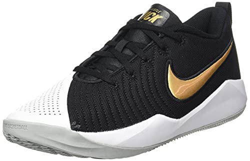 Nike Team Hustle Quick 2 Big Kids', Scarpe da Basket, Black/Light Smoke Grey/White/Metallic Gold, 40 EU