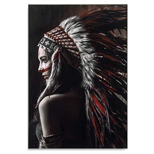 Muurkunst Afro-Amerikaanse Vrouwen Canvas Decor Originele Ontworpen Pop Goud Oorbellen Ketting Accessoire Zwart Mooie Meisje Stijl Schilderen op Canvas Poster Print, Zonder Frame 80×110cm F