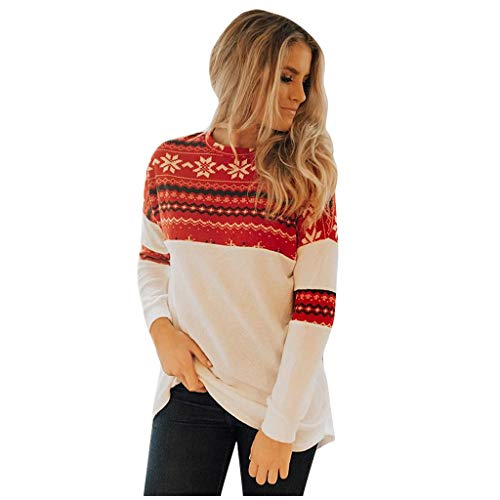 Review Of Christmas Sweaters for Women Fashion Long Sleeve Sweatshirt Reindeer Snowflakes Patterns P...