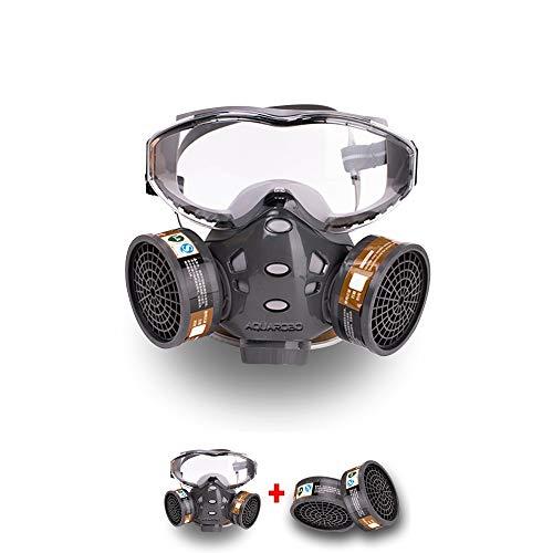 AQUAROBO Gas Mask, 7-14 Days Shipping All-in-one Heavy Duty Organic Vapors Respirator, Multi-Purpose Respirator Gas Mask with Goggle. (2 Cartridge)
