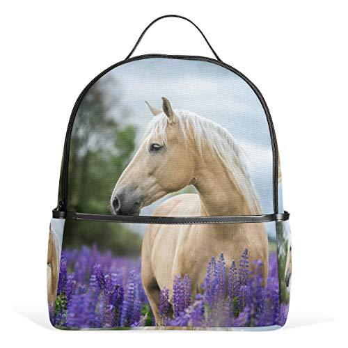 Cpyang, zaino per la scuola, con animali, cavalli, fiori, lavanda, borsa a tracolla, stile casual, da viaggio, per ragazze, ragazzi, donne e uomini